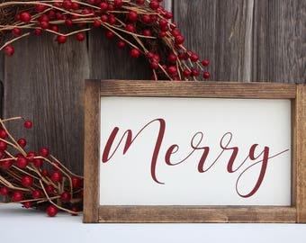 Merry wood sign, Christmas wood sign, Holiday wood sign, Christmas decor, holiday decor, Painted wood sign, Merry and bright, wood sign