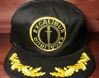 Vintage Excalibur black snapback trucker hat