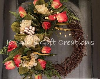 Made to Order Tulips Grapevine Wreath/Front Door Wreath/Monogram Wreath/Spring Door Hanger/Year Round/Burlap Decor/Summer Wreath/Hydrangeas