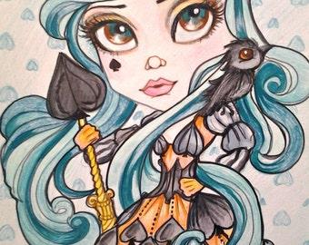 Queen of Spades Playing Card Art Fantasy Big Eye Print