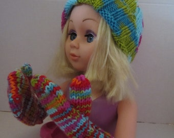 Multi-coloured Hat and Mitts for a Child