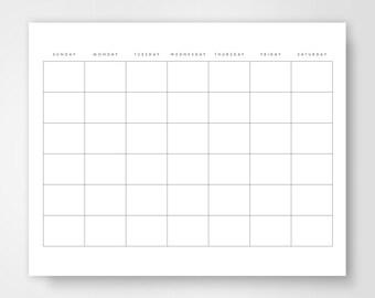 Blank Calendar, Calendar Printable, Simple Calendar, Journal Calendar, Dairy Calendar, Simple Day Planner, Minimalist Printable, Blank