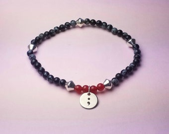 Mental Health Awareness bracelet of snowflake obsidian and carnelian with semicolon charm