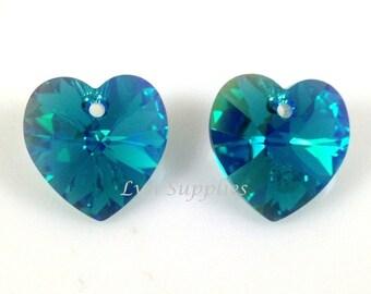 6228 BLUE ZIRCON AB 10.3x10mm Swarovski Crystal Heart 6 pieces Teal Hearts
