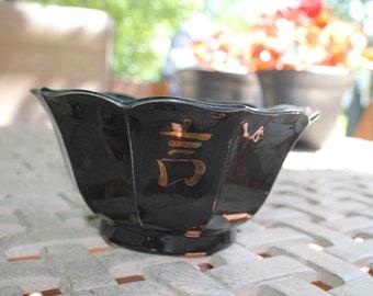 Vintage Handmade Black Lotus Bowl 2513