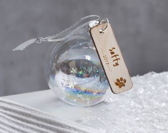 Glass bauble – decoration – personalised pet bauble – gifts for pets – personalised bauble – Birthday – personalised pet gifts
