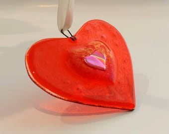 New! Orange Fused Glass Heart - Glass Christmas Tree Ornament - Orange & Pink Dichroic Heart - Fused Glass Christmas Decoration - Suncatcher