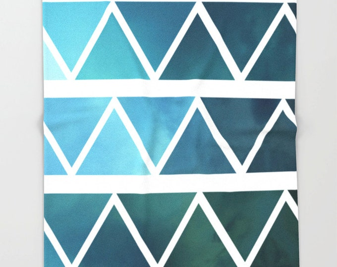 Blue Super Soft Fleece Throw Blanket - Bedding - Blue Triangle Art Throw Blanket - Fleece Throw Blanket - Made to Order