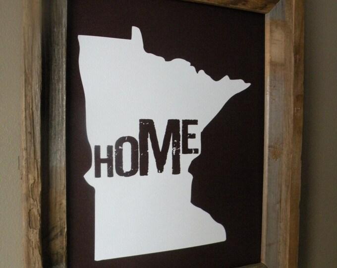 Minnesota Home Print (Dark Maroon) - Unframed