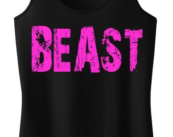 BEAST Workout Tank Top Racerback, Gym Tank Top, Fitness, Workout Clothes, Motivational Workout, Beast, Workout Shirt, Running