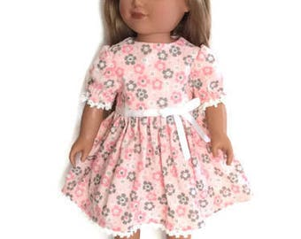 18 Inch Doll Dress, Pink Floral Summer Doll Dress, 18 Inch Doll Clothes