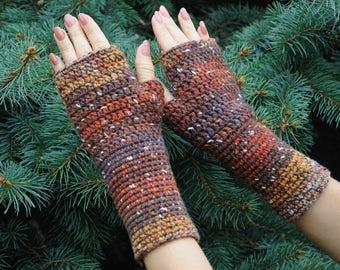 Outdoors gift Crochet fingerless mittens Hand warmers Knit fingerless gloves Winter gift Mother gift Christmass gift Hipster gift Mom gift