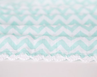 Teal Chevron Crochet Muslin Gauze Swaddle Blanket