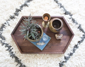 Long Wooden Hexagon Tray - Walnut Wood Centerpiece Long Tray Modern Rustic Decor Geometric Tray Handmade