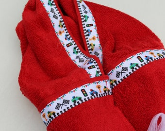 Race Cars Red Hooded Towel