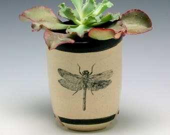 Oval Ceramic Planter, succulent planter, orchid planter, cactus planter, White with Black Dragonfly/ ready to ship/Ceramics and Pottery