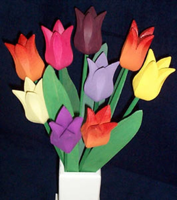 "Wooden tulip bouquet  ""Rainbow"""