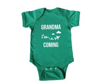 Grandma i'm coming - Baby's First Grandma Visit - Baby Bodysuit - Grandpa i'm coming - Baby's First Grandpa Visit - Grandpa i'm coming