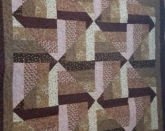 Split rail fence Throw Quilt done in Browns