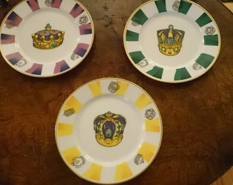 3 Neiman Marcus Crown Plates/Made in Japan/Decorated in California/Dessert Salad Plates/Jewels/Glamour