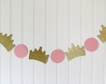 Princess Banner - Princess Garland - Princess Baby Shower - Pink and Gold Garland - Princess Theme Birthday - Princess Party Decor