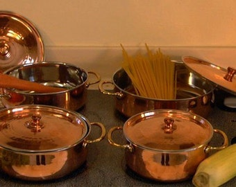Pot Set: Copper with Stainless Steel & Bronze