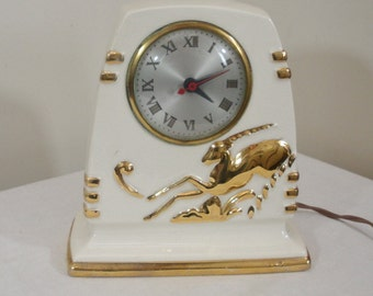 Vintage Sessions Ceramic White & Gold Gazelle Electric Clock - Antelope