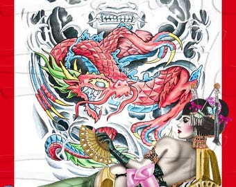 110_ dragon Geisha pinup burlesque painted by Sara Horwath - fine art print glossy highest finest