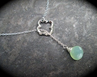 Quatrefoil and Chalcedony Briolette Lariat Y necklace with wire wrapped Green Chalcedony faceted  Briolette