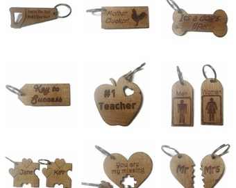 Personalised Keyrings Wooden Various Shapes High Quality (Any Text Available)
