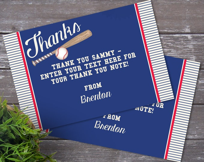 Baseball Party Thank You Card | Little Slugger Party, Birthday, Baby Shower, Thank You | EDITABLE Text - INSTANT Download Printable PDF