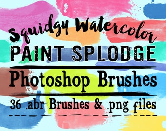 Paint Splodges Photoshop Brushes Clipart - 35 Squidgy Watercolor Paint Splodges abr brushes