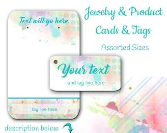 Cartes de boucle d'oreille sur mesure | Aquarelle bijoux cartes | Tags | Présentoir à bijoux | Boucle d'oreille cartes |  Cartes pour les bijoux | Étiquettes personnalisées | Affichage