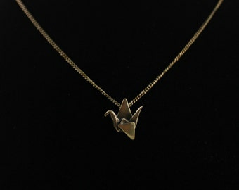 Brass Origami Crane Necklace,Origami Jewelry,Origami Charms,First Anniversary Gift,Vintage Brass Necklace,Paper Anniversary,3D Printed Crane