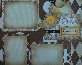 Blue and Brown 12 x 12 Scrapbook Layout Pattern