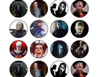 24 x 3.8cm Classic Horror, Halloween Edible Cupcake Toppers
