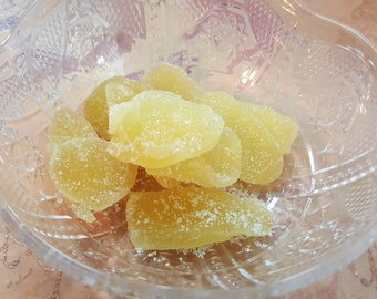 Half pound Candied Ginger/Crystallized Ginger/Kitchen Witch/Apothecary Herbs/Hoiiday Cooking/Homeopathic/Home Remedies/Yule Christmas Baking