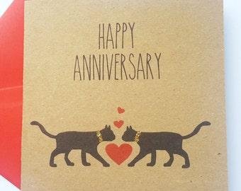 Black Cat Anniversary Card - Happy Anniversary