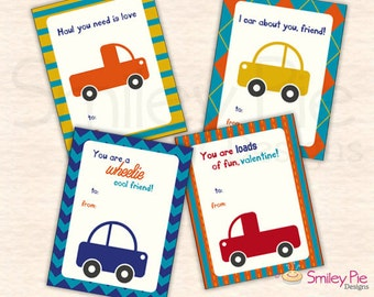 Cars and Trucks Valentines - To/From Fill-in - Printable file