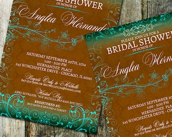 Rustic Floral Wedding Bridal Shower Invitations | Whimsical Floral | Any Colors | Printable Invitation DIY | Rustic wedding Printable