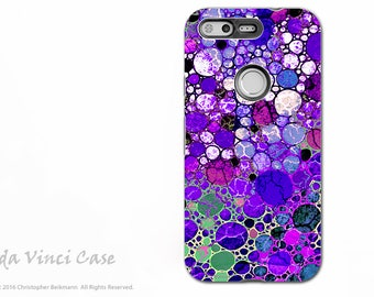 Purple Abstract Google Pixel XL Tough Case - Artistic Dual Layer Protection - Grape Bubbles Art Pixel XL Case by Da Vinci Case