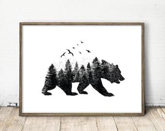 bear print, forest print, nature print, nursery nature art, bear art, nursery bear, baby bear art, forest wall art, cute bear art, bear art