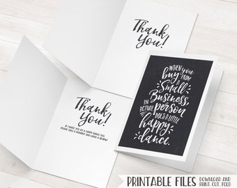 Business Thank You Card, Small Business Cards, Printable Thank You, Happy Dance Package Inserts, Promo Cards, Customer Cards, Client Cards
