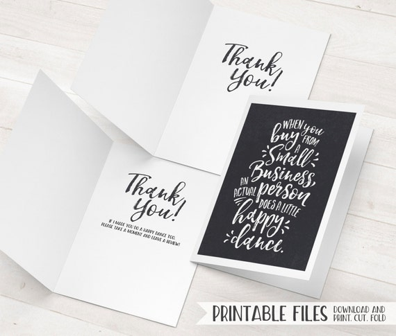 Business thank you card small business cards printable thank reheart Images