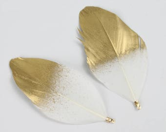 10pcs Goose Feather Pendant 7-9cm / 2.5-3.5 inches Feathers Jewelry Feathers Craft Supplies Wholesale Feathers YM582