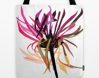 Canvas Tote Bag - Christmas Gift -  Flower tote bag - Design Tote Bag - 16x16 inches - Pink Flower Tote - Art Tote Bag