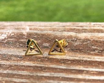 Delicate Gold Triangle Earrings- Gold Triangles- Minimalist  Earrings-Dainty Earrings