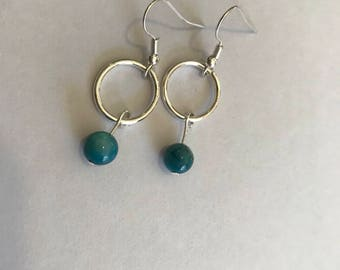Teal dangle hoop earrings