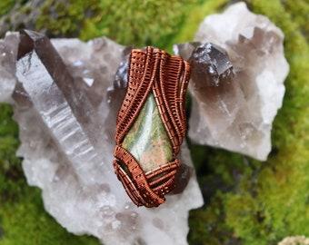 Wire Wrapped Unakite Pendant