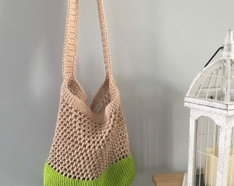 Neon green market bag, market bag, garden bag, mesh bag, beach bag, cotton bag, market tote, lime green, bright green